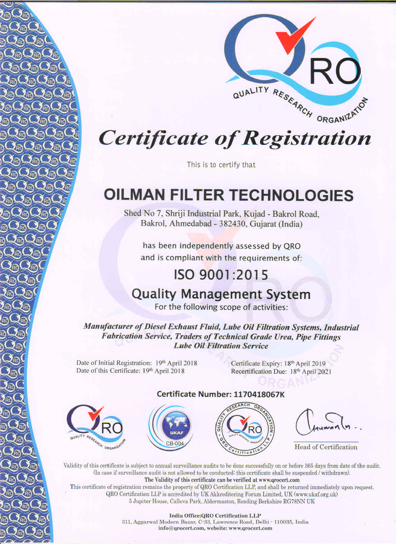 OILMAN FILTER TECHNOLOGIES QRO 9001